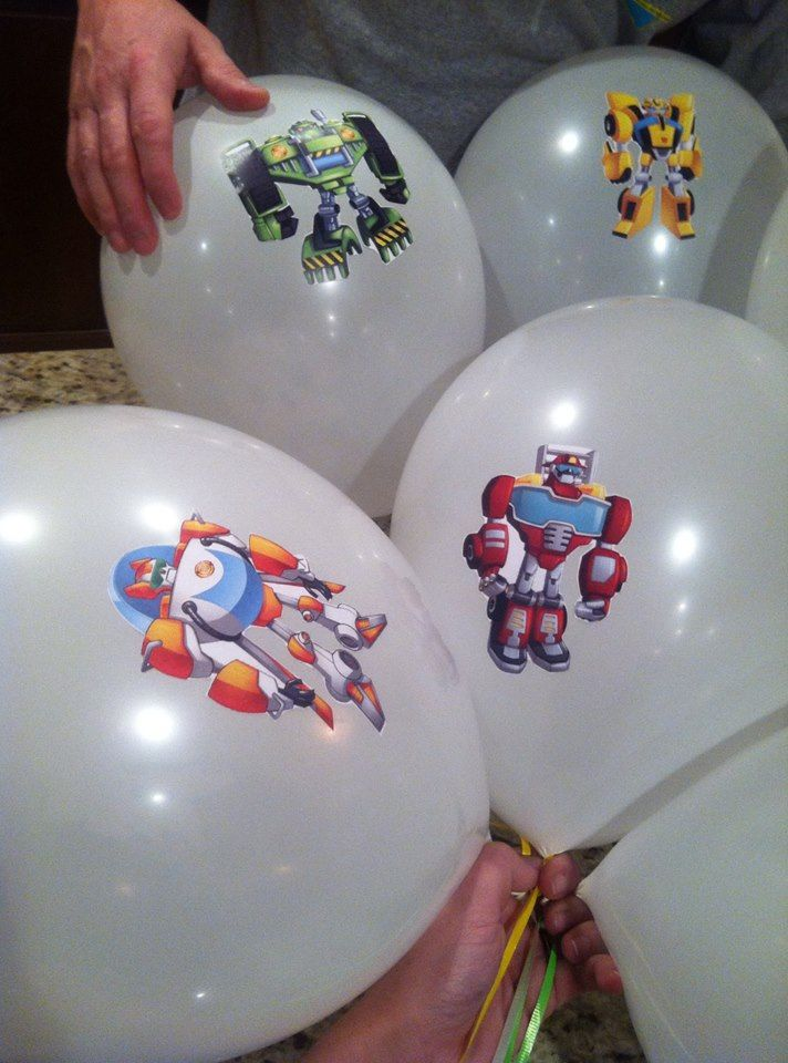 DIY Rescue Bot Balloons - Rescue Bots - 2nd Birthday - Rescue Bots Birthday - Toddler Birthday - Rescue Bots Themed Party - Balloon Stickers