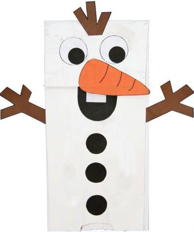 snowman paper bag puppet                                                                                                                                                                                 More