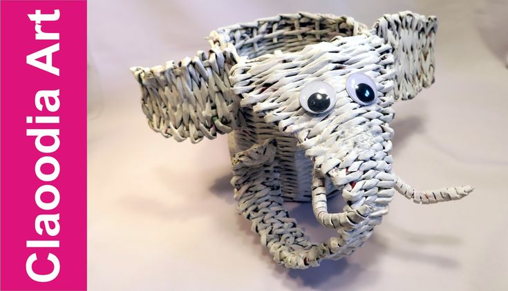 elefante, de mimbre de papel