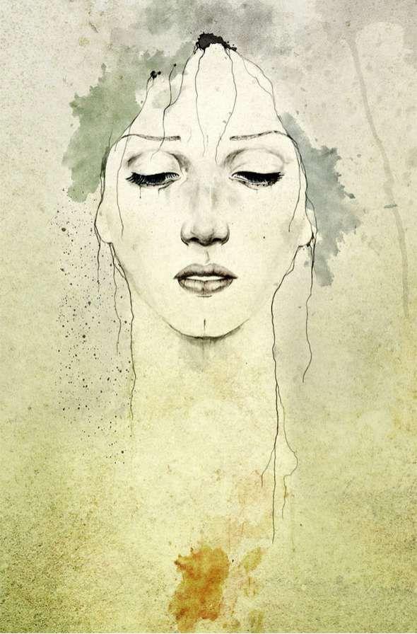 Art. Woman. Watercolor.
