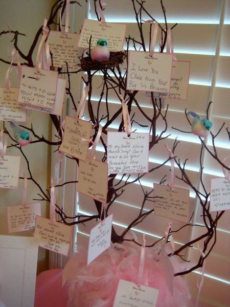 Baby Shower Idea: Create a dream tree where guests can write message to baby with their wishes or dreams for them. Also doubles as decor! #babyshower: Baby Shower Ideas, Garden Baby Showers, Baby Christening Decor, Adoption Shower, Baby Girl, Baby Shower Trees Ideas, Christening Parties Ideas, Dreams Trees, Baby Shower