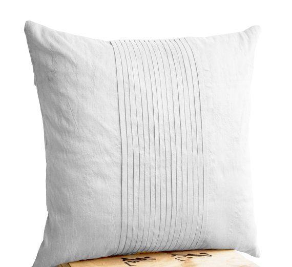 White silk ripple pillow- White pintuck pillow cover- 18x18- White textured cushion- Silk cushion- Throw pillow- Bedding- Couch pillows-Gift