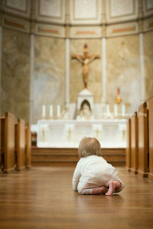 This is how we should go up to receive The Eucharist, crawling on our knees. +