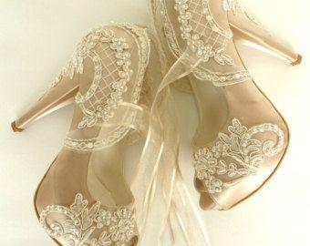 Chaussures de mariage - Champagne brodé dentelle Chaussures de mariée