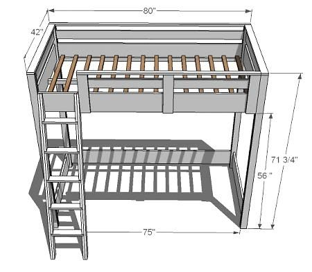 loft bed plans - From Ana White's Website; need to see if @Steve Knittel thinks we could build this