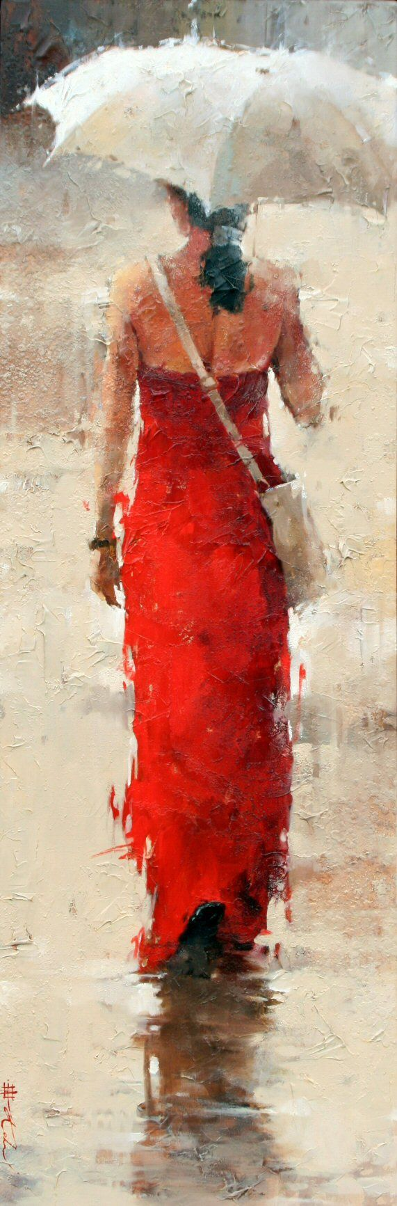 Andre Kohn's work I like. The lady leaning on the rail Craig posted below and the lady with the hat I posted below. Is this leaving the dance studio?  I have to study Impressionism to understand better.