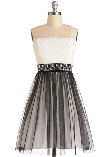 Alternative Allure Dress - Woven, Short, Black, White, Beads, Rhinestones, Special Occasion, Prom, Ballerina / Tutu, Strapless, Good