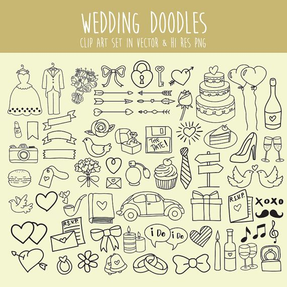 Doodle Clipart Hochzeit, Hochzeit Clipart, Clip Art PNG & Vektor EPS AI Design Element digitale sofortigen Download Doodle