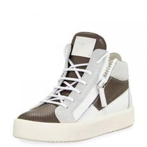 Giuseppe Zanotti Perforated Leather Brown/Gray Two-Tone High-Top Sneakers - 54% Off