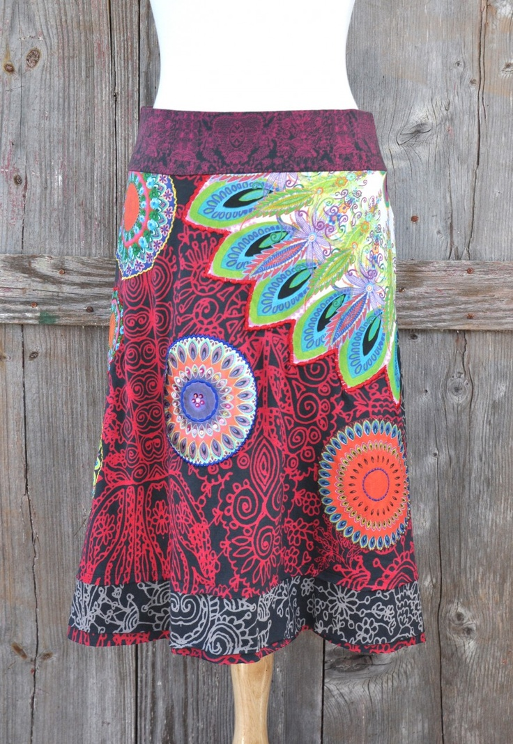 Fabulous and forward, in full Desigual style, this funky skirt is decorated in embroidered circles with colorful patterns and stitched with small bead detailing. Finished with two layers of colorful trim. #ourchoix, $84