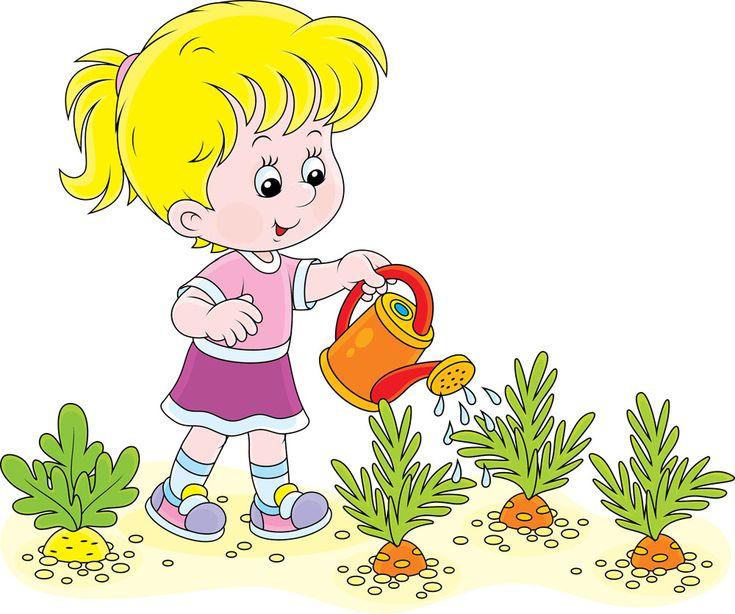 浇水的卡通女孩