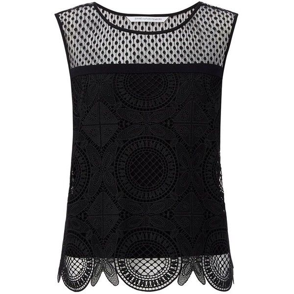 DVF Lila Spiral Lace Crop Top ($149) ❤ liked on Polyvore featuring tops, shirts, black, summer crop tops, summer shirts, lace shirt, summer lace tops and diane von furstenberg tops