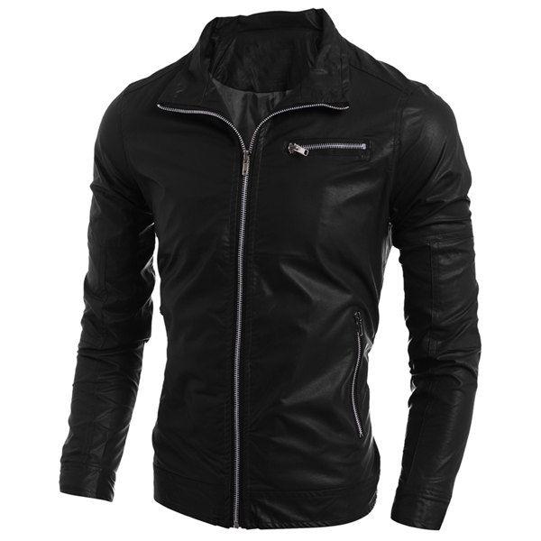 Simple Turn-Down Collar Multi-Pocket Long Sleeve Men's PU-Leather Coat #jewelry, #women, #men, #hats, #watches, #belts, #fashion
