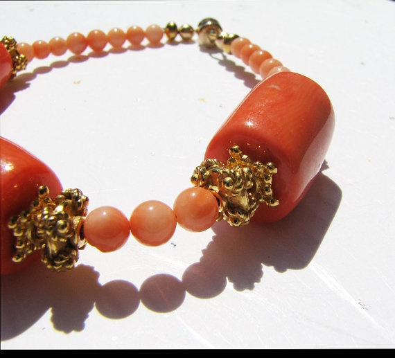 Coral and gold bead bracelet Angel skin coral Gold by ShopPretties, $50.00