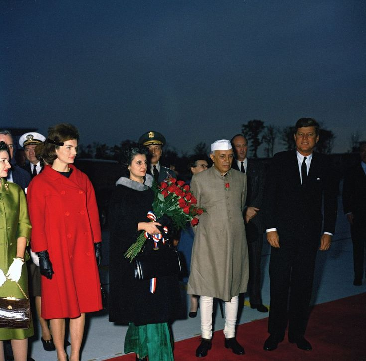 KN-C19370. President John F. Kennedy, First Lady Jacqueline Kennedy, Prime Minister of India Jawaharlal Nehru, and Others at Arrival Ceremonies - John F. Kennedy Presidential Library & Museum