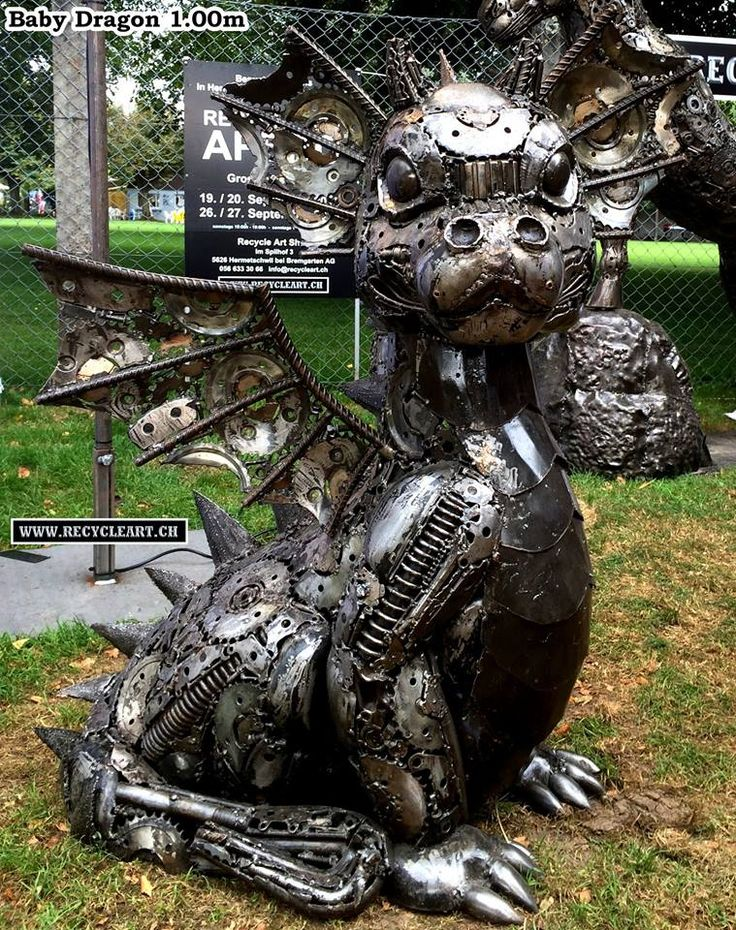 Recycle Art Baby Dragon 1.00m MADE FROM CAR AND MOTORCYCLE PARTS