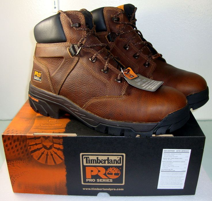 """Mens TIMBERLAND Pro Helix 6"""" SAFETY TOE Brown WORK BOOTS Size 12 4 FREE SOCKS"""