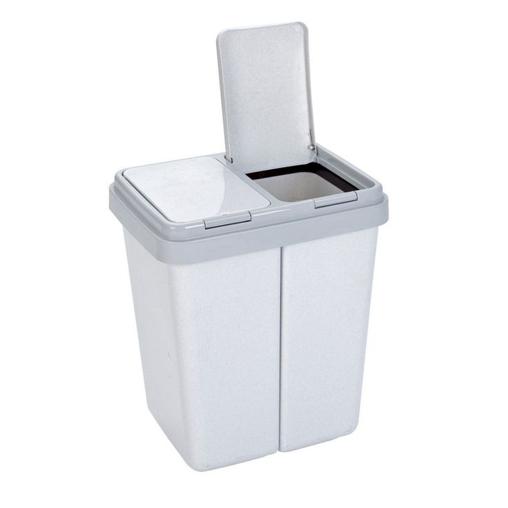 Home Kitchen Garbage Container Double Recycle Plastic Bin Bag Trash Can lid Grey