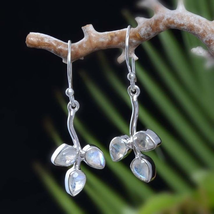 "HOT SELL 925 STERLING SILVER RAINBOW MOONSTONE EARRING 3.79g DJER4015 L-1.50""…"