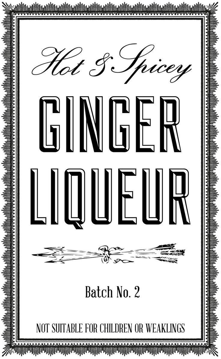 DIY ginger liqueur recipe label