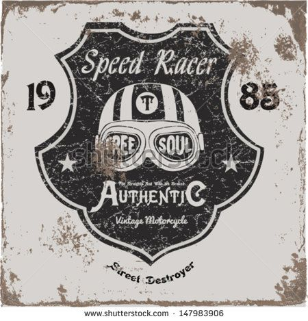 Corrida de Moto Vintage | Desenho de mão | Impressão de camiseta | emblema etiqueta applique