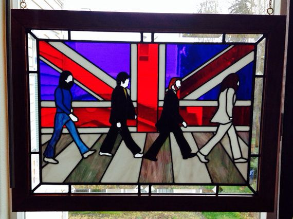 The Beatles Stained Glass Portrait Abbey Road Sun
