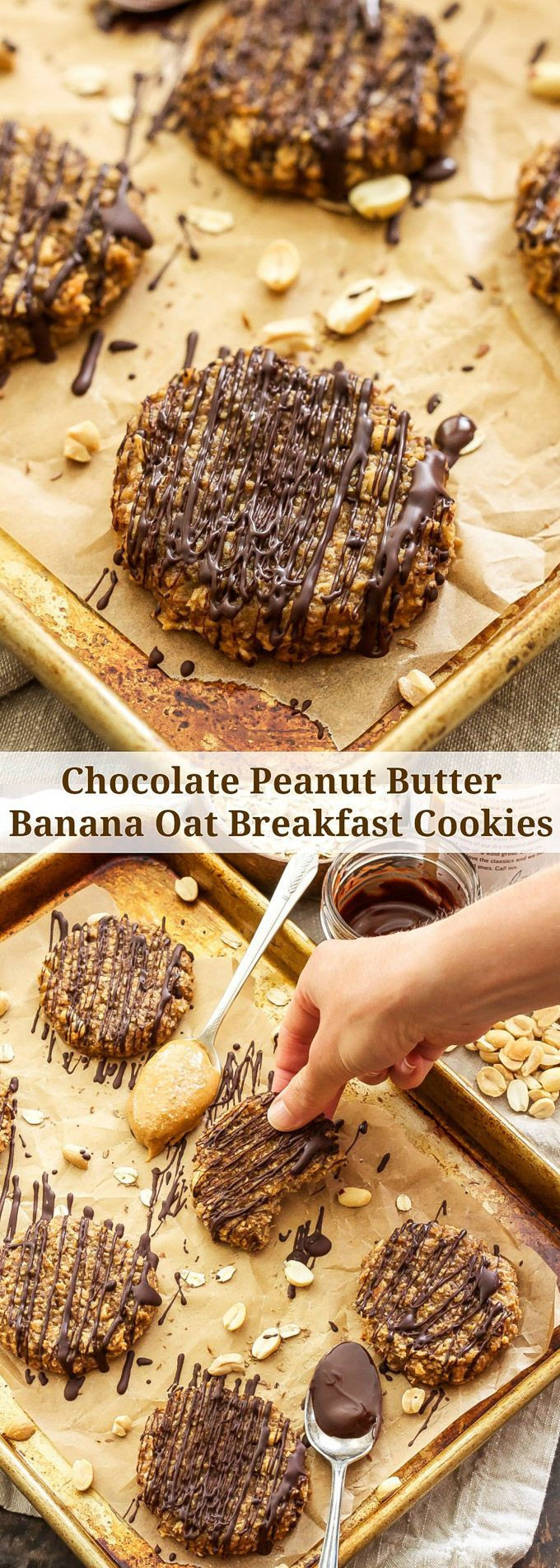 Chocolate Peanut Butter Banana Oat Breakfast Cookies | These tasty, gluten-free…