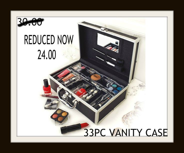 33 Piece Vanity Case  SALE NOW..£24.00  Keep all of your cosmetics safe and secure with this stylish and sturdy black vanity case! Over 30 makeup items in a range of shades to suit all styles. Not only that, but it also includes a built in mirror, and a range of applicators and brushes. This set is perfect for travel. Case measures H16 x W25 x D9.5cm.