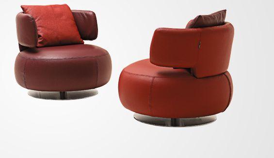 Roche Bobois Curl Armchairs In Marsala Colour Design