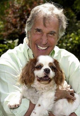 Henry Winkler with his dog, a cross between a Labrador and a poodle named Charlotte