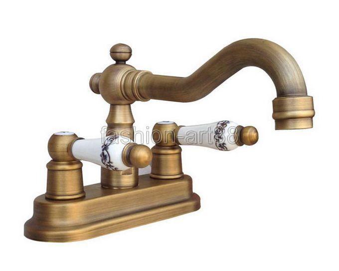 Bathroom Vanity Sink 4 Centerset Lavatory Faucet Antique Brass Mixer Tap Fnf327 Dll Faucet Sink Faucets Brass Faucet