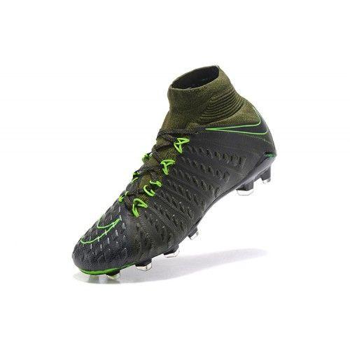 Discount 2017 Nike Hypervenom Phantom III DF FG Black Green Football Boots