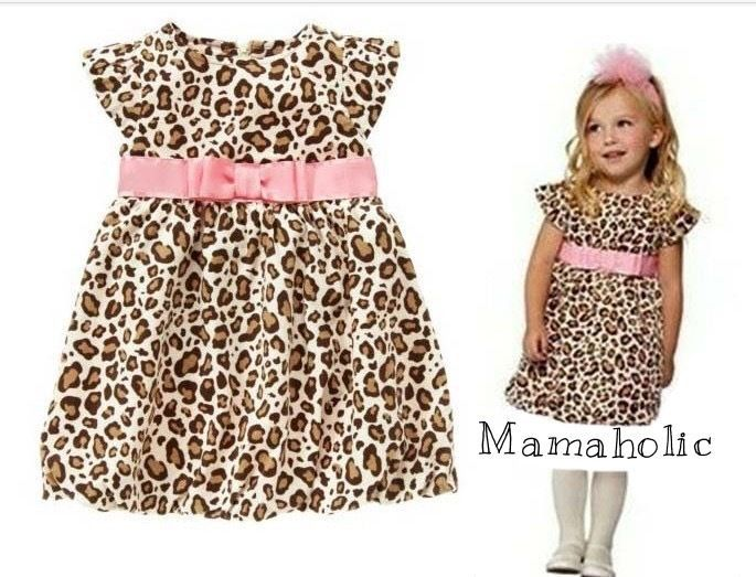 Girls Leopard Print Dress with Pink Bow Belt, Girls Dress, 3 Years