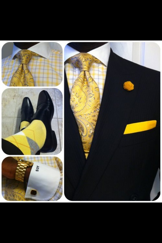 Yellow accents...  He wouldn't wear the socks though.