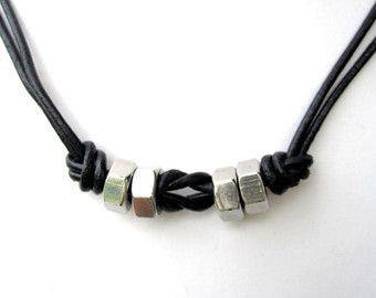 Mens Leather Collar Hardware Collar para hombre collar de la joyería para hombre Hex Nut Collar Industrial Joyería Objeto Encontrado joyería unisex