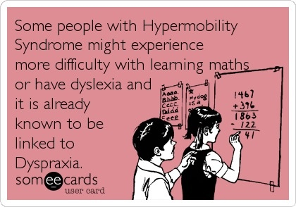 WOW! I knew about speech and hearing issues due to connective tissue disorders but never ever did I think that my dyslexia and/or math issues were related to Hypermobility Syndrome. Will have to do some more reading on this!