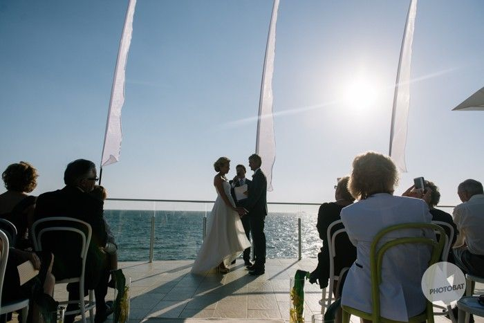 A great ceremony spot on the deck with the sun sea and celebrant, great idea #weddinginspiration @Events at SYC