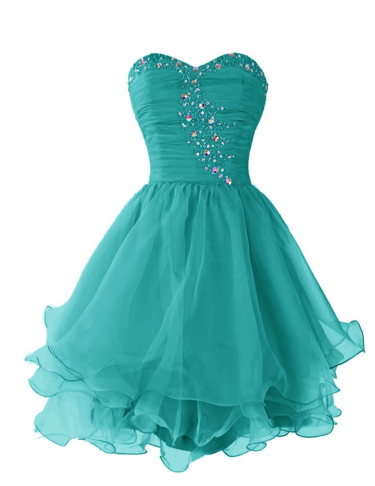 Dressystar Short Homecoming Dresses Sweetheart Prom Party Gowns Lace-up Back |  Turquoise