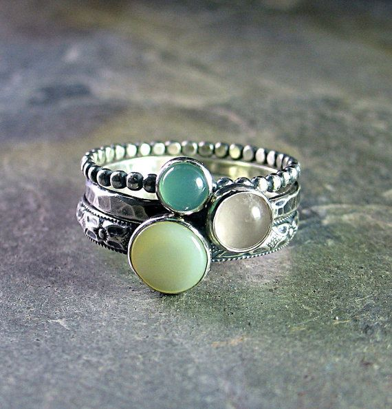 Spun Sugar - set of 3 stacking rings with Mother of Pearl, Rose Quartz, and Chrysoprase    ...from LavenderCottage on Etsy