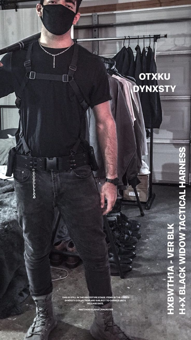 OTXKU DYNXSTY // HXBWTH1A - VER BLK  • • • • • • Techwear grunge techwear ootd tactical fashion noire fashion edgy militants harness fashi...