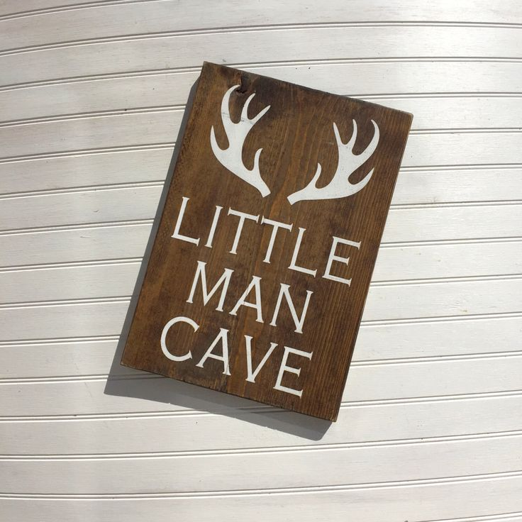 Little Man Cave Signs : Little man cave antler wood sign nursery decor