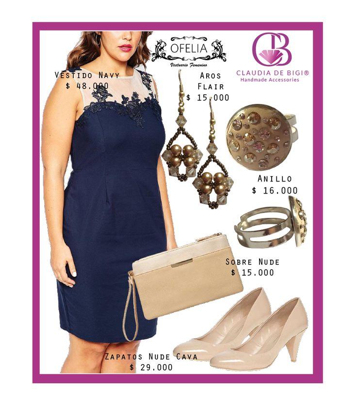 Vestido azul navy, sobre y zapatos nude, aros y anillo con cristales Swarovski. Otoño Invierno 2016