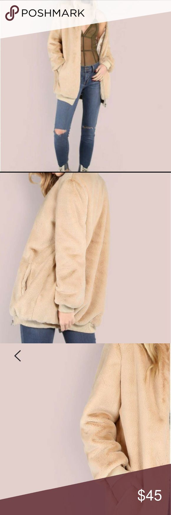Tan Fuzzy Coat | Bomber Jacket Brand new, didn't fit me. Similar to Brandy Melville fuzzy coat in the last picture. The last picture is just for comparison, it is not for sale. The coat is really soft. Has No Brand. Fashion Nova Jackets & Coats Utility Jackets