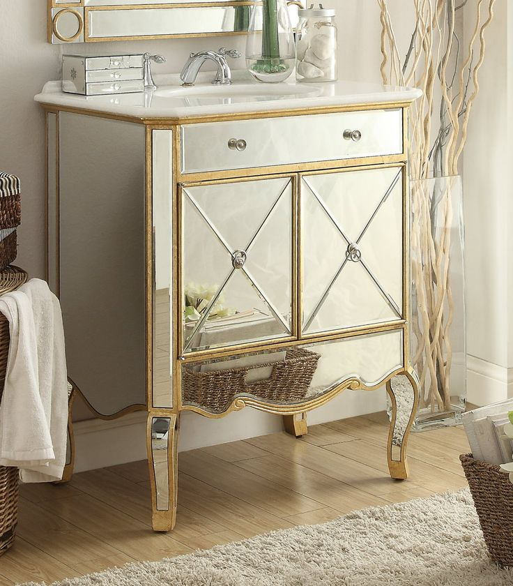 This Adelina 30 Inch Mirrored Gold Bathroom Vanity Will Add Elegance And Function To Your Bath