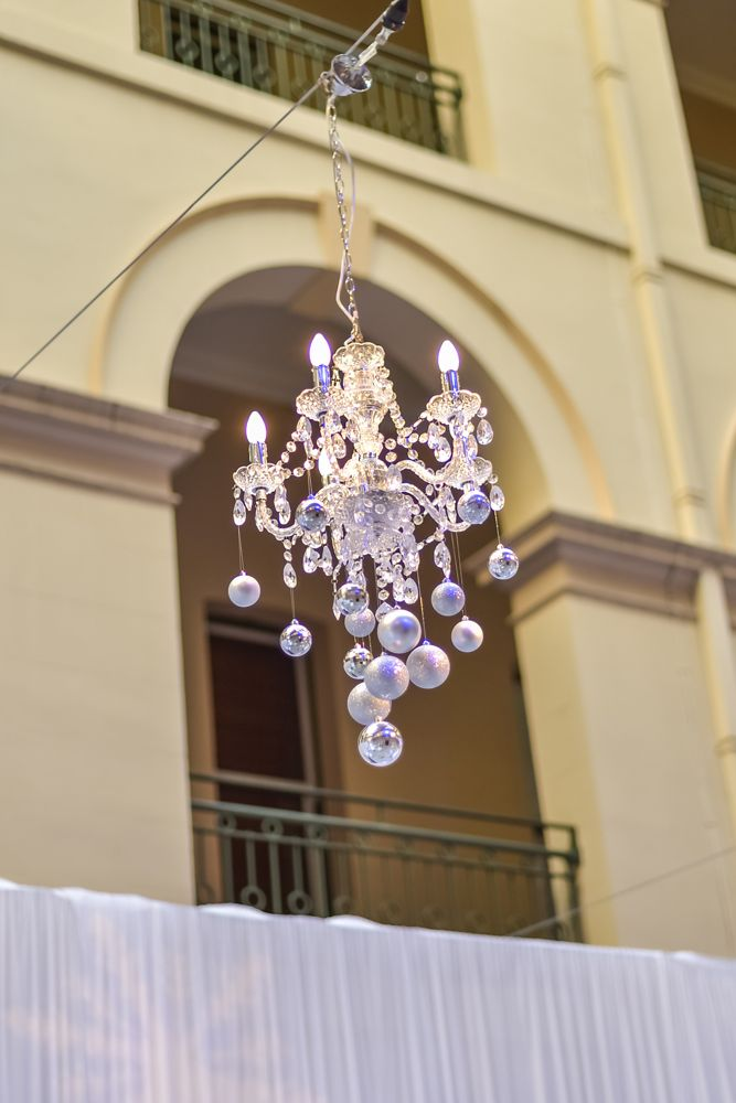 Christmas Baubles off the Chandelier