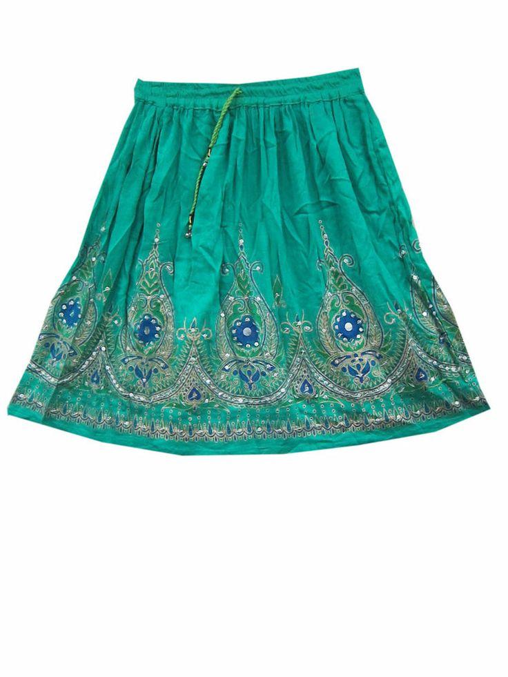 Bollywood Fashion Mini Skirts Rayon Sea Green