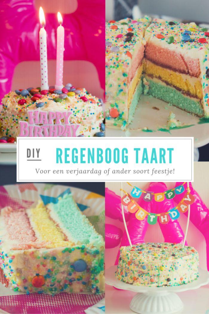 DIY: regenboog taart, leuk voor een verjaardag of ander feestje!