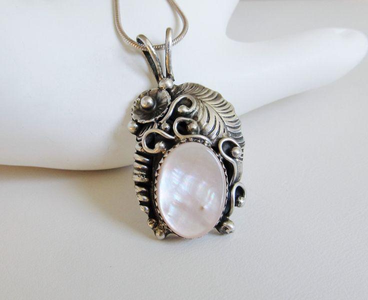 Southwestern Necklace MOP Pendant Vintage Jewelry Women's Necklace Sterling Silver by JasVintage on Etsy