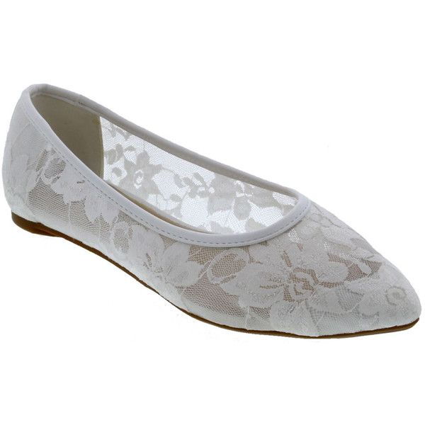 Penny Loves Kenny Knot Flat Women's White Slip On ($60) ❤ liked on Polyvore featuring shoes, flats, white, white pointed toe flats, white shoes, floral flat shoes, lace flats and white lace flats