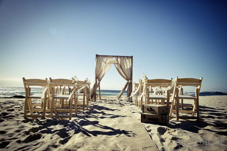 Vintage beach wedding with hessian & burlap styling